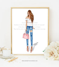 Load image into Gallery viewer, Fashion Illustration Print, Boss Babe, Chic Wall Art, Fashionista Art Print, Denim and Pink, Glam Room Decor, Gallery Wall, Chic Sketch