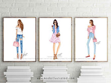 Load image into Gallery viewer, Fashion Illustration Print, Pink Art, Girly Chic Art, Fashionista, Fashion, Denim and Pink, Glam room, Office decor, Ruffled Shirt, sketch