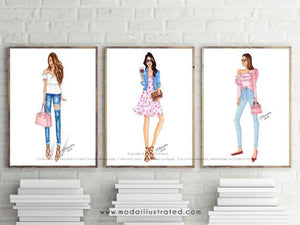 Fashion Illustration Print, Pink Art, Girly Chic Art, Fashionista, Fashion, Denim and Pink, Glam room, Office decor, Ruffled Shirt, sketch
