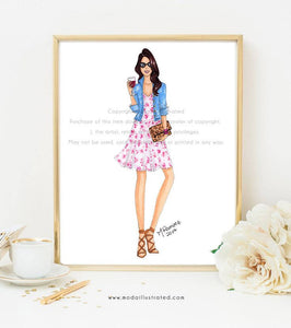Fashion Illustration Print, Wine Lover Art, Chic Sketch, Fashionista Art Print, Animal print Decor, Gallery Wall, Leopard Clutch, Wino, Flor