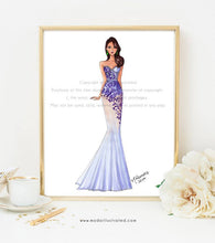 Load image into Gallery viewer, Purple Dress, Fashion Illustration Print, Glam Room, Girly Art, Chic Sketch, Fashionista, Purple Office Decor, Chic illustration, Couture