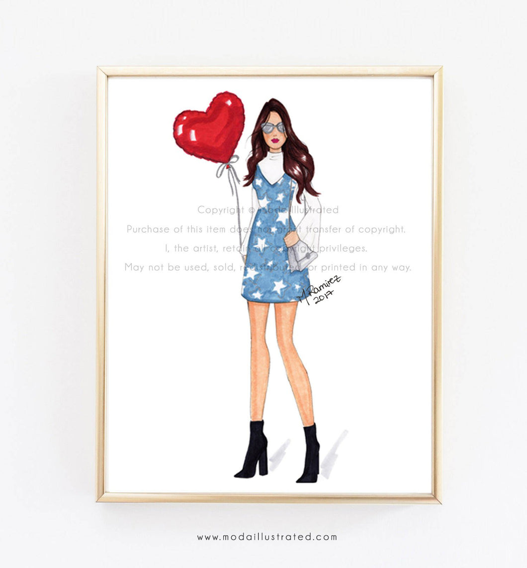 Love Balloon, Fashion Illustration, Fashion Illustration Print, Pink Art, Girly Art, Chic Art, Fashionista, Fashion Art Print, Red, Girl Art