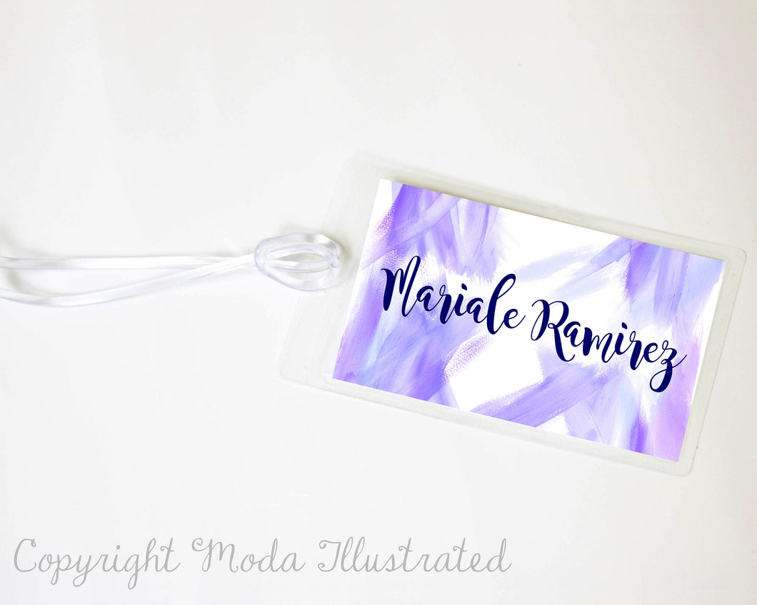 Custom Luggage Tag, Honeymoon Travel Tag, Bridal Shower Party Favor, Travel Gifts, Personalize Luggage Tag, Purple Luggage Tag, Group Gift