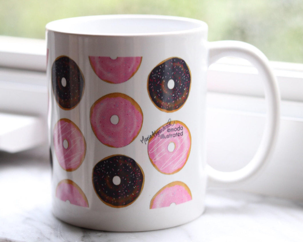 Cute Coffee Mug with donuts drawing, unique birthday gift for her, I Donut Care Art, Chocolate Doughnut Painting, present for coworker