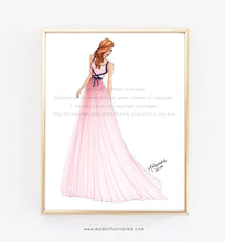 Load image into Gallery viewer, Gift for best friend, fashion art for girl who loves pink, dressing room closet decoration, makeup room wall art fashion illustration print
