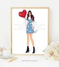 Load image into Gallery viewer, Love Balloon, Fashion Illustration, Fashion Illustration Print, Pink Art, Girly Art, Chic Art, Fashionista, Fashion Art Print, Red, Girl Art