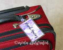 Load image into Gallery viewer, Custom Luggage Tag, Honeymoon Travel Tag, Bridal Shower Party Favor, Travel Gifts, Personalize Luggage Tag, Purple Luggage Tag, Group Gift