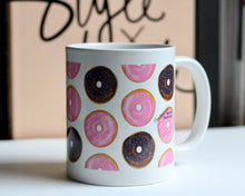 Load image into Gallery viewer, Cute Coffee Mug with donuts drawing, unique birthday gift for her, I Donut Care Art, Chocolate Doughnut Painting, present for coworker