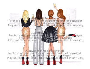 We Own The Night, Custom Fashion Illustration, Chic present, Fashion Girls Night Out, champagne, BFF birthday, gift for her, bachelorette
