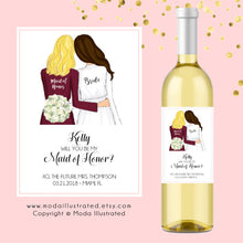Load image into Gallery viewer, Customizable Bridesmaid Proposal Wine Labels