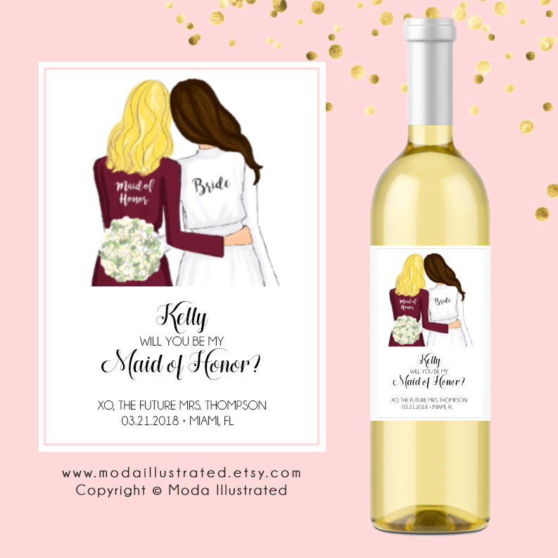 Customizable Bridesmaid Proposal Wine Labels