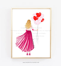 Load image into Gallery viewer, Fashion Illustration Print, Valentines Day Cards for girl friends, Heart Balloons, glam room, moda illustrated, love, decoration for office