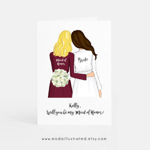 Maid of Honor Proposal Asking Card, cute bridesmaid and bride drawing, mother of the bride wedding day gift, matron of honor thank you card