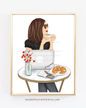 Load image into Gallery viewer, Fashion Illustration, Custom wall art, French Cafe, Parisian Wall Decor, Bedroom Decor, Chic Print, Boss Babe, Gift for Coffee Lover Friend