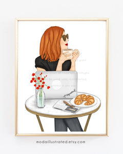 Fashion Illustration, Custom wall art, French Cafe, Parisian Wall Decor, Bedroom Decor, Chic Print, Boss Babe, Gift for Coffee Lover Friend