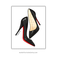 Load image into Gallery viewer, Louboutin Designer Shoes Art Illustration Print, Painting decoration for dressing room, gift for shoe lover friend, fashion store wall art