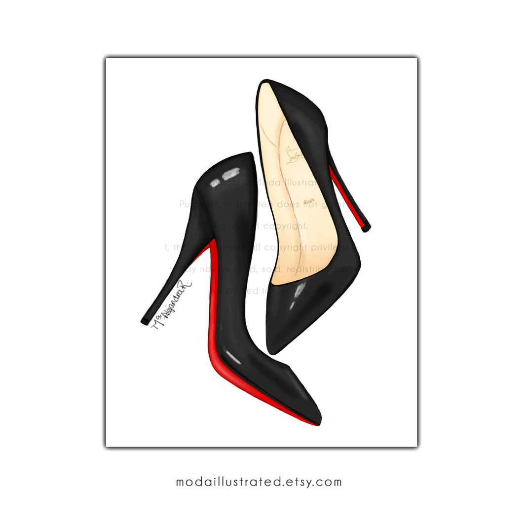 Louboutin Designer Shoes Art Illustration Print, Painting decoration for dressing room, gift for shoe lover friend, fashion store wall art