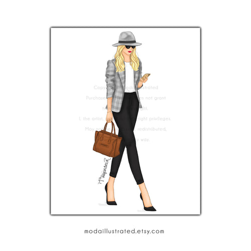 Fashion Illustration Print, Louboutin wall art, Boss Babe, Wall Art Print, High Heels decorations, Black and White Chic, Woman on the Go