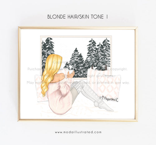 Custom Fashion Print, Coffee Decoration, Cozy room, Sketch, BFF birthday, gift for her glam room, moda illustrated, peaceful window view