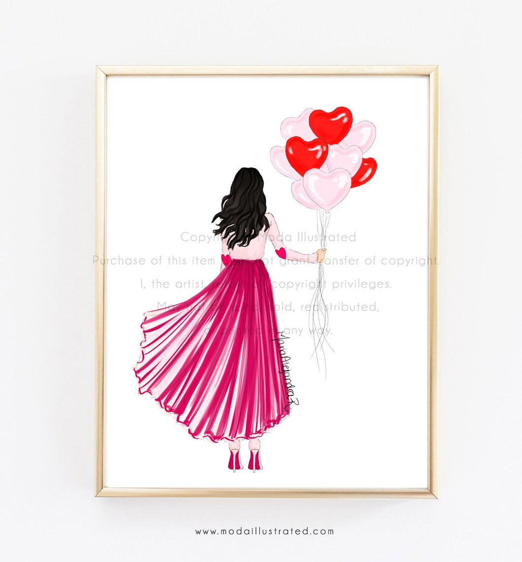 Fashion Illustration Print, Valentines Day Cards for girl friends, Heart Balloons, glam room, moda illustrated, love, decoration for office