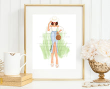 Load image into Gallery viewer, Fashion Illustration Print, Ultimate Fashionista, Gallery Wall Art, Vacation Art Print, Gold, Green, Chic Sketch, Wall Candy, Red lips, ootd