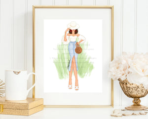 Fashion Illustration Print, Ultimate Fashionista, Gallery Wall Art, Vacation Art Print, Gold, Green, Chic Sketch, Wall Candy, Red lips, ootd