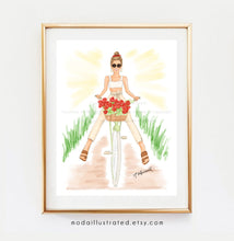 Load image into Gallery viewer, Vacation Biking Girl Having Fun. Fashion Illustration Print