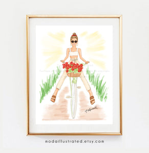 Vacation Biking Girl Having Fun. Fashion Illustration Print