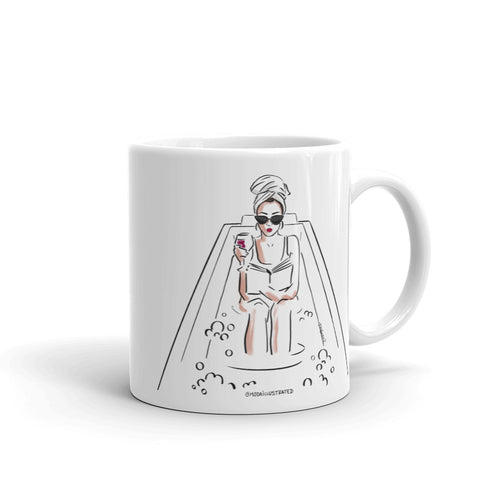 Bubble Bath Head Towel Fashion Illustration Series coffee mug