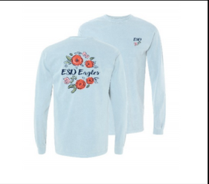 Summit Adult Chambray Long Sleeve Tee with Flowers