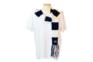Navy and White Skinny Scarf with Fringe