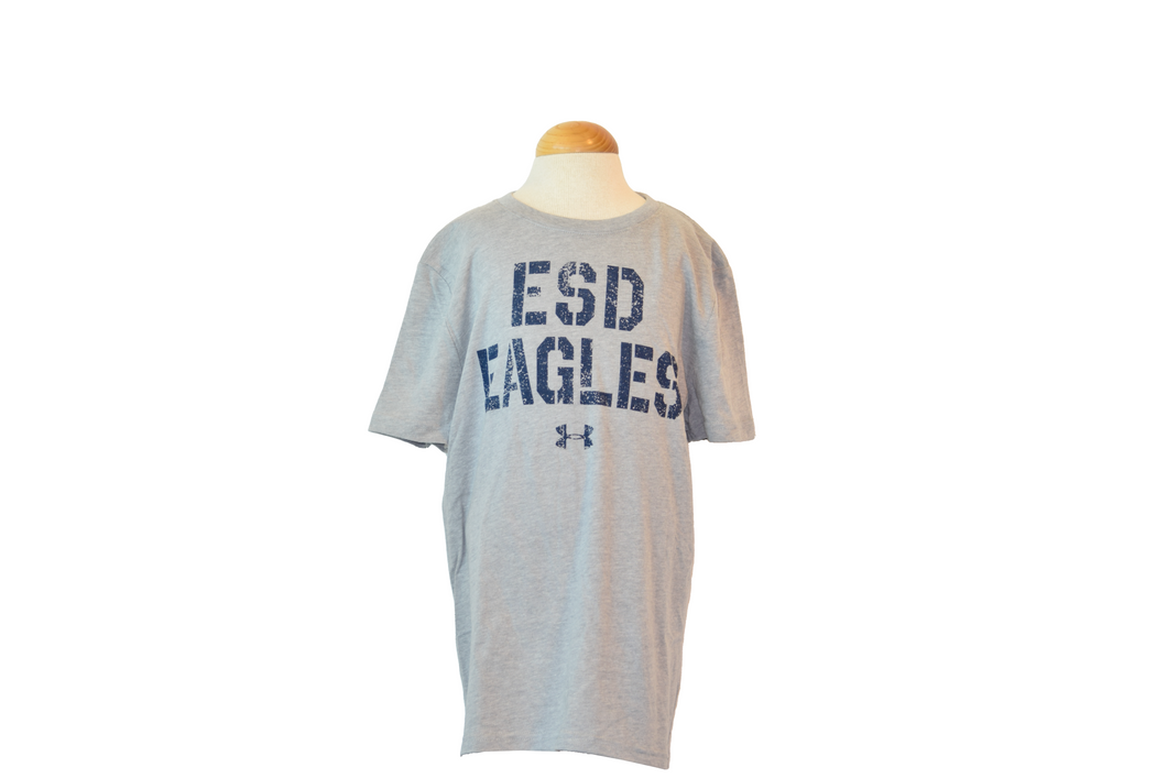 Under Armour Youth Gray Tee with Distressed ESD EAGLES