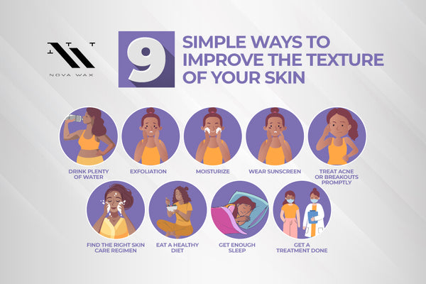 nine steps to improve skin texture infographic