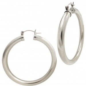 GIA 50 MM SILVER THICK HOOPS