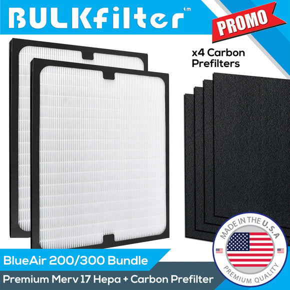 BlueAir 200/300 Premium Replacement Hepa + Carbon Bundle Bundle BulkFilter 2pk 2 Pack (Change Every 2-3 Months)