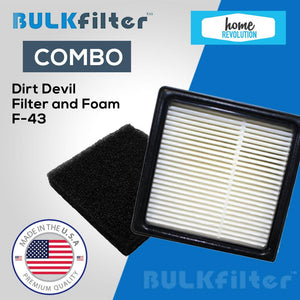 Dirt Devil Replacement Filter and Foam-F43 simple BulkFilter