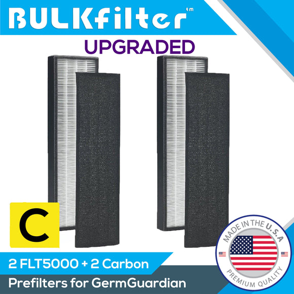 GermGuardian FLT5000 Upgraded HEPA Replacement Filter C for AC5000, AC5000E, AC5250PT Air Purifiers Hepa BulkFilter 2 Pack