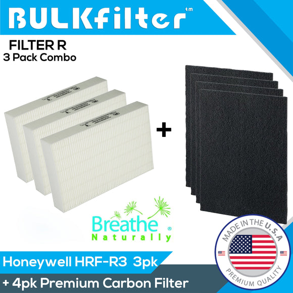 Honeywell HEPA Filter R 3pk Bundle HRF-R3 for HPA 300 Bundle BulkFilter 3 Hepa + 4pk Carbon