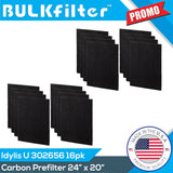 "Idylis Carbon Filter U - 302656 | Cut To Fit | 24"" x 20"" Carbon Filter BulkFilter 2 Pack"
