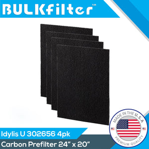 "Idylis Carbon Filter U - 302656 | Cut To Fit | 24"" x 20"" Carbon Filter BulkFilter 4 Pack"