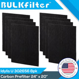 "Idylis Carbon Filter U - 302656 | Cut To Fit | 24"" x 20"" Carbon Filter BulkFilter 8 Pack"