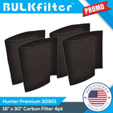 "Premium MERV 14 Carbon PreFilters for Hunter 30901 Series | 16"" x 30"" Carbon Filter BulkFilter 4 Pack"