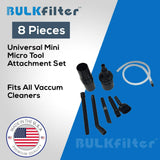 Universal Mini Micro Tool Attachment 8 Piece Set; Made to Fit ALL Vacuum Cleaners simple BulkFilter