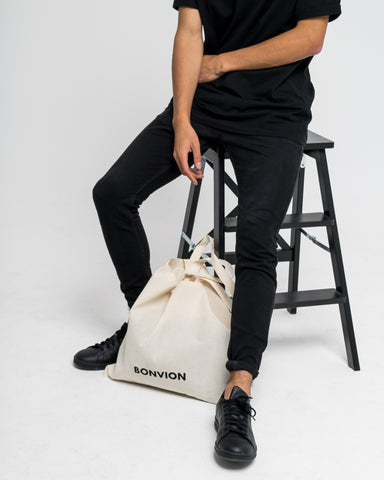 Bonvion beige eco canvas tote bag with Bonvion logo