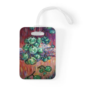 """Falling Green Grapes From The Red Hot Sky"", Glossy Lightweight Plastic Bag Tag, Made in USA"