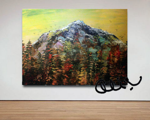 """Mountain Rainier ""Mountain Rainier in Yellow Sky"", 24""x36"", 2016, acrylic on canvas, original art, mountain artworkin Yellow Sky"", 24""x36"", 2016, acrylic on canvas, original art, mountain artwork"
