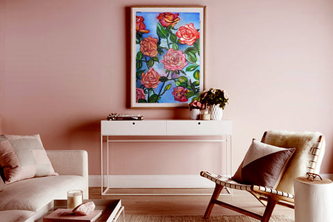 floral pink rose art print framed