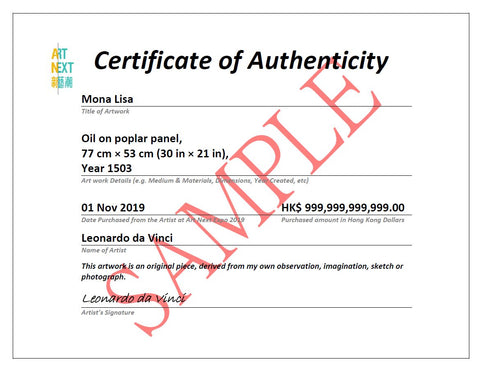 art  next certificate of authenticity from art next alice chan