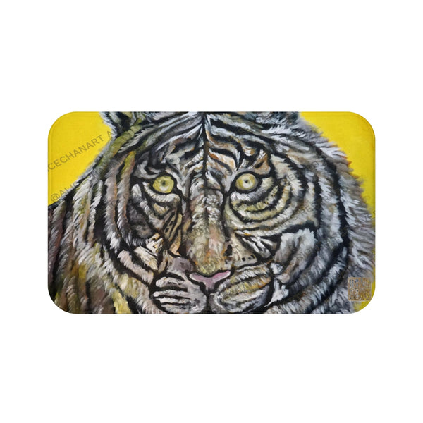 White Tiger Animal Print Art Microfiber Anti-Slip Bath Mat- Printed in USA