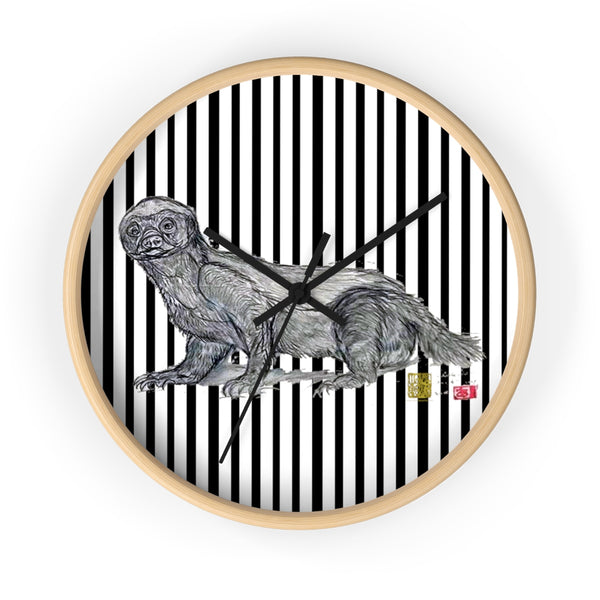 Black Vertical Striped Honey Badger Animal Art Modern Unique Wall Clock- Made in USA